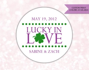 Lucky in love stickers - Vegas wedding favors - Wedding stickers - Wedding labels (RW071)