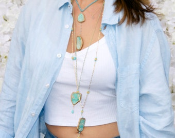 Turquoise Layered Necklaces in Gold/ Boho Layered Necklace Handcrafted by Bare and Me/ Boho Jewelry/Summer Turquoise Necklace Collection