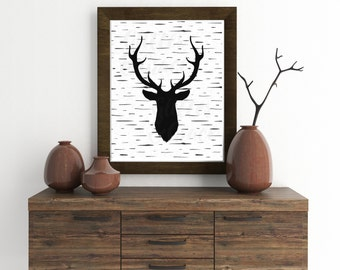 50% OFF SALE Deer with Birch background *Digital Printable 8x10