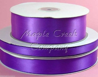1-1/2 inch x 50 yards of Purple Double Face Satin Ribbon - shines on both sides