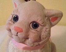 Cast Art Cat 1991 by Kristin Haynes / Signed Collectible Kitty / Aristocat Marie / Christmas - il_214x170.885684765_pbuj