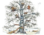 """Tree house, Morning Town, whimsy, skate, children, frisbee, kite, tree, adventure, Pen & Ink and Watercolor, """"Morning Town"""" (Reproduction)"""