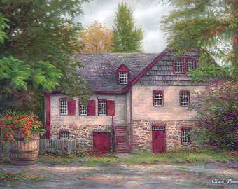 Cottage Painting, Settlers Art, Pilgrim Artwork, Painting of Country Home, Colonial Art, House Painting, English Countryside Home-3750