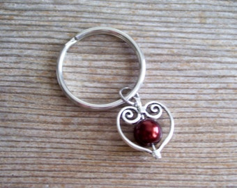Heart Key Ring, Filigree Silver Heart Key Chain, Sweetheart Keychain, Copper Dark Brown Pearl Bead, Pearl Heart Keychain