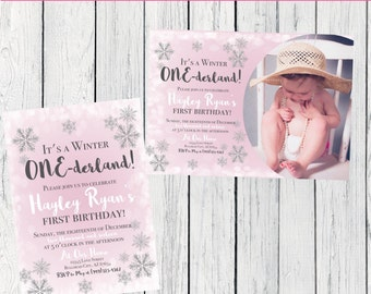 Winter ONEderland Birthday Invitation-   ***Digital File*** (ONE-WinterPinkPIC)