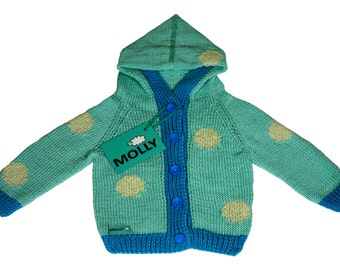 Blue knitted hoodie for baby EU size 68, 3-6 months old