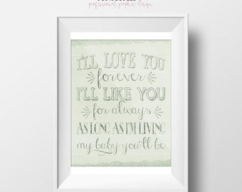 70% CLEARANCE THRU 7/30 I'll love you forever, I'll like you for always, As long as I'm living my baby you'll be, Nursery Printable, 8x10 Wa