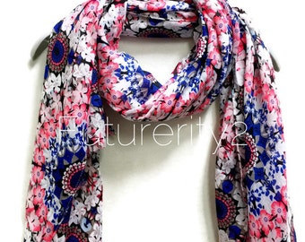 Pink / Blue Flower Power Scarf / Spring Summer Scarf / Gifts For Her / Accessories / Women Scarves