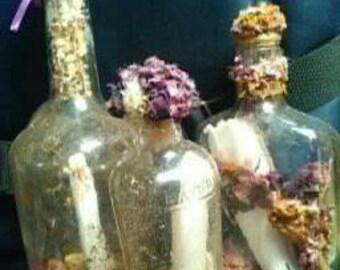 Vintage Glass Bottles with a Message! Fun Flowery Decoration. Assorted sizes with Real Message Inside. Made to Order