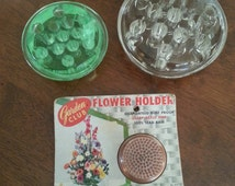 Vintage 1950's 60's Glass and Metal Flower Frogs (3)