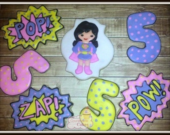 "Super Hero Comic Book Girl hero Decorated sugar cookies 3""-1 dozen"