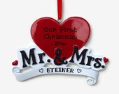 SHIPS FREE - Mr. and Mrs. Personalized Ornament - Newlyweds - First Married Christmas - Anniversary - Hand Personalized Christmas Ornament