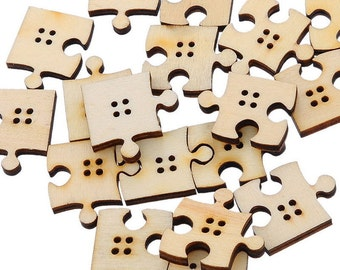 20 or 40 Jigsaw Puzzle Pieces Wooden Craft Buttons 4 Holes Embellishments