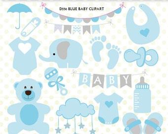 Baby Shower Clipart, Baby Boy Clipart, Baby Clip Art, Umbrella, Blue Onesie