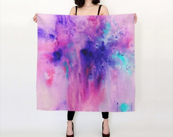 Purple , Pink and Aqua, Watercolor, Silk Scarf, Original Abstract Watercolor Scarf.