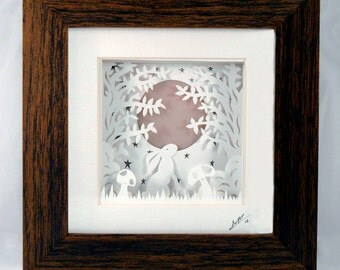 FRAMED Papercut Hare Rabbit Moon ~ paper cut out, wall art, paper cut, papercutting, paper cutting, papercut art, paper cut art, nursery art