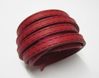1meter 5x2mm Red stitched flat leather cord 5mm leather cord