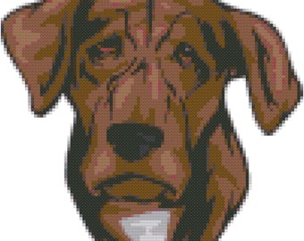 Treeing Tennessee Brindle Dog Breed Cross Stitch Pattern graph  pattern and tutorial instant download
