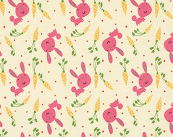Bunny and Carrots in Pink, Garden Collection by David Walker for Free Spirit Fabrics