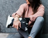 Black and  White Hair on Hide Clutch   Cowhide Bag   Pouch   Purse   Pony Hair