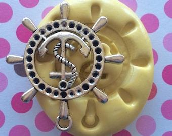 BIG Ship Wheel W/ Anchor Silicone MOLD - Anchor Mold, Cake Supply, Fondant Mold, Cake Pops, Ship Wheel Mold, Chocolate Decor, Fondant Mold