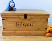 Handmade Wooden Childrens Toy Box Carved Personalised Storage ChestTrunk NEW