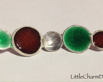 Red and Green Enamel Pendant, Bar Necklace, Asymmetrical Domed Circles, Sterling Silver