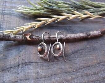 Sterling Silver Earrings, Mixed Metal Earrings, Boho Earrings, Rustic Earrings, Modern Earrings, Every Day Earrings, Silver Jewelry