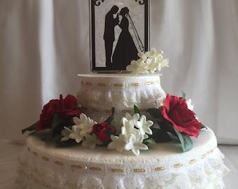 Handmade Stained Glass Wedding Cake Topper