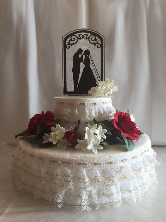 Handmade Stained Glass Wedding Cake Topper