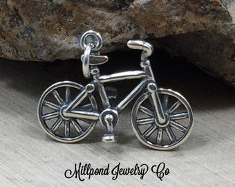 Bicycle Charm, Bike Charm, Sterling Silver Bicycle Charm, Outdoors Charm, Sport Charm, Athlete Charm