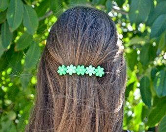 BARRETTES HAIR DAISIES shaded green/shaded pink, nature, gypsy, magic