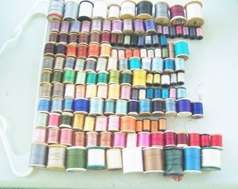Lot of 148 spools of cotton thread sewing supplies wooden Coats and Clark's Corticelli Lily Ivory Brand seamstress