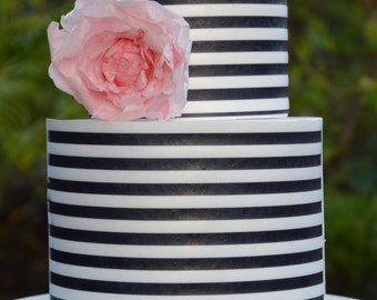 Wafer Paper Sheets, cake,  kate spade, inspired, black and white, Wafer paper sheets, cookie topper