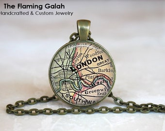 LONDON Map Pendant • Vintage London Map • Old London Map • London England • Gift Under 20 • Made in Australia (P1250)
