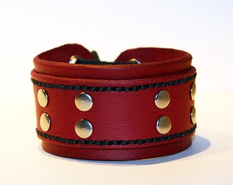 Red Leather Cuff Bracelet! Nice Gift For Women! Nice Gift For Men! Great Handmade Leather Bracelet! Handmade Leather Accessories!