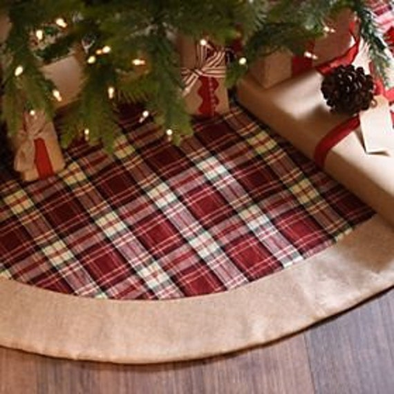 Burlap And Red Christmas Tree: Red Plaid And Natural BURLAP Jute 48 Inch Round Christmas TREE