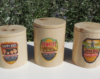 Blonde Wooden Canisters with Vintage Peanut Butter Labels, Natural Cottonwood Canisters with Original 1940's Labels