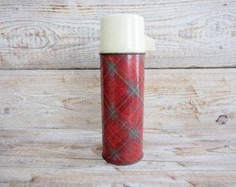 Vintage Thermos, Red Tartan Thermos, Rustic Kitchen, Old Thermos from 60s, Retro home decor, Rustic Home Decor, Old Rustic Thermos