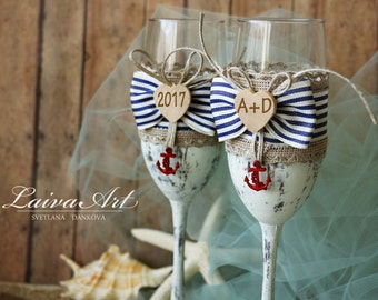 Beach Wedding Champagne Flutes Wedding Champagne Glasses Wedding Toasting Flutes