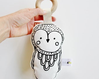 Owl Teether Rattle Toy Hand Printed Organic