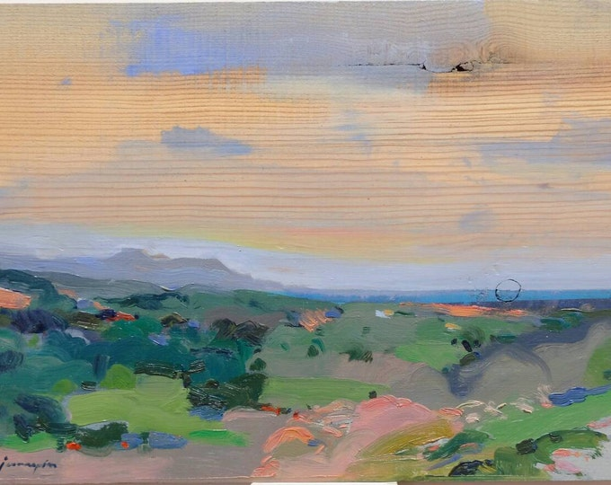 Featured listing image: Mediterranean Landscape. Original painting by Juanma Pérez. Oil on solid pine. 10  x 14in.