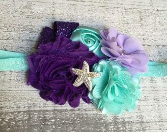 Mermaid hair bow.  Little Mermaid Headband.  Ariel Headband.  Ariel Hair Clip.