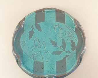 Tomato plant Ruffle plate in Teal- Oval with Stripes
