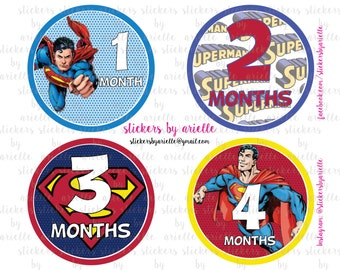 Month by Month Baby Stickers - Superman Theme