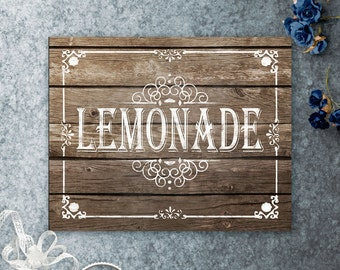 Printable Wedding Lemonade Sign, Lemonade Stand Sign, Wedding Beverages, Rustic Wood Sign, Rustic Wedding Decor, Barn Wedding, Beach Wedding