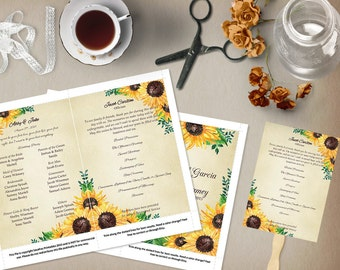 Rustic Sunflower Wedding Program Template, Order of Service, Order of Ceremony, Wedding Party, Program Fan, Ceremony Program, DIY Wedding