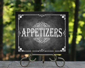 Printable Chalkboard Wedding Appetizers Sign, Buffet Sign, Wedding Sign, Rustic Wedding Sign, Chalkboard Sign, DIY Wedding, Food Sign, DIY