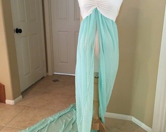 Sale Price!!!!! Ready to Ship!!!!! Cream/mint Chiffon Jersey Maternity Gown, one size fit most, ready to ship