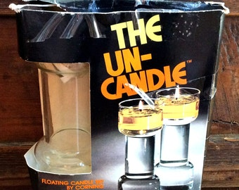 Vintage Retro Estate The Un-Candle Glass in Original Box Floating Candles by Corning
